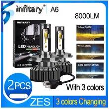 Infitary h4 led h1 h3 h11 9005 h13 h7 led 3 mudança de cor farol do carro luz de nevoeiro 3000k 4300k 6500k flash 72w luzes automáticas 2 pçs