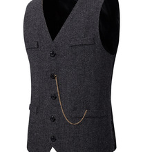 Suit Vest Waistcoat Wedding-Gilet Wool Groomman Formal Casual Mens Business Costume Homme