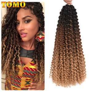 TOMO 14 18 22Inch 22Strands Passion Twist Crochet Hair Spring Twist Synthetic Braiding Hair Extensions 80g/Pack Long Black Brown(China)