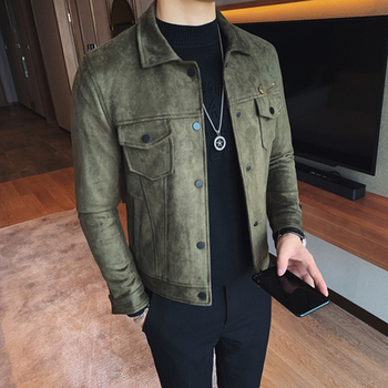 Autumn and winter Korean version of the self-cultivation men's lapel casual jacket fashion single button suede jacket tide men's