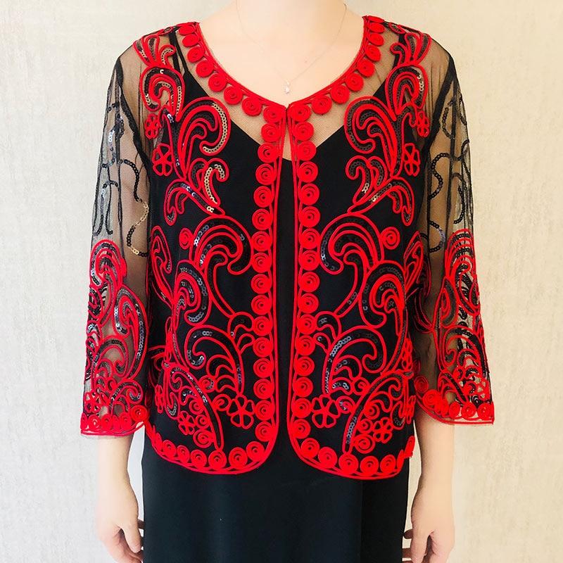 Black Thin Long Sleeve Flapper Shawl Crochet Lace Mesh Sequins Shrug Bolero Women Embroidery Cardigan Short Coat