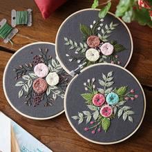 Diy bordado flor handwork needlework para iniciante kit de ponto cruz fita pintura bordado aro decoração para casa