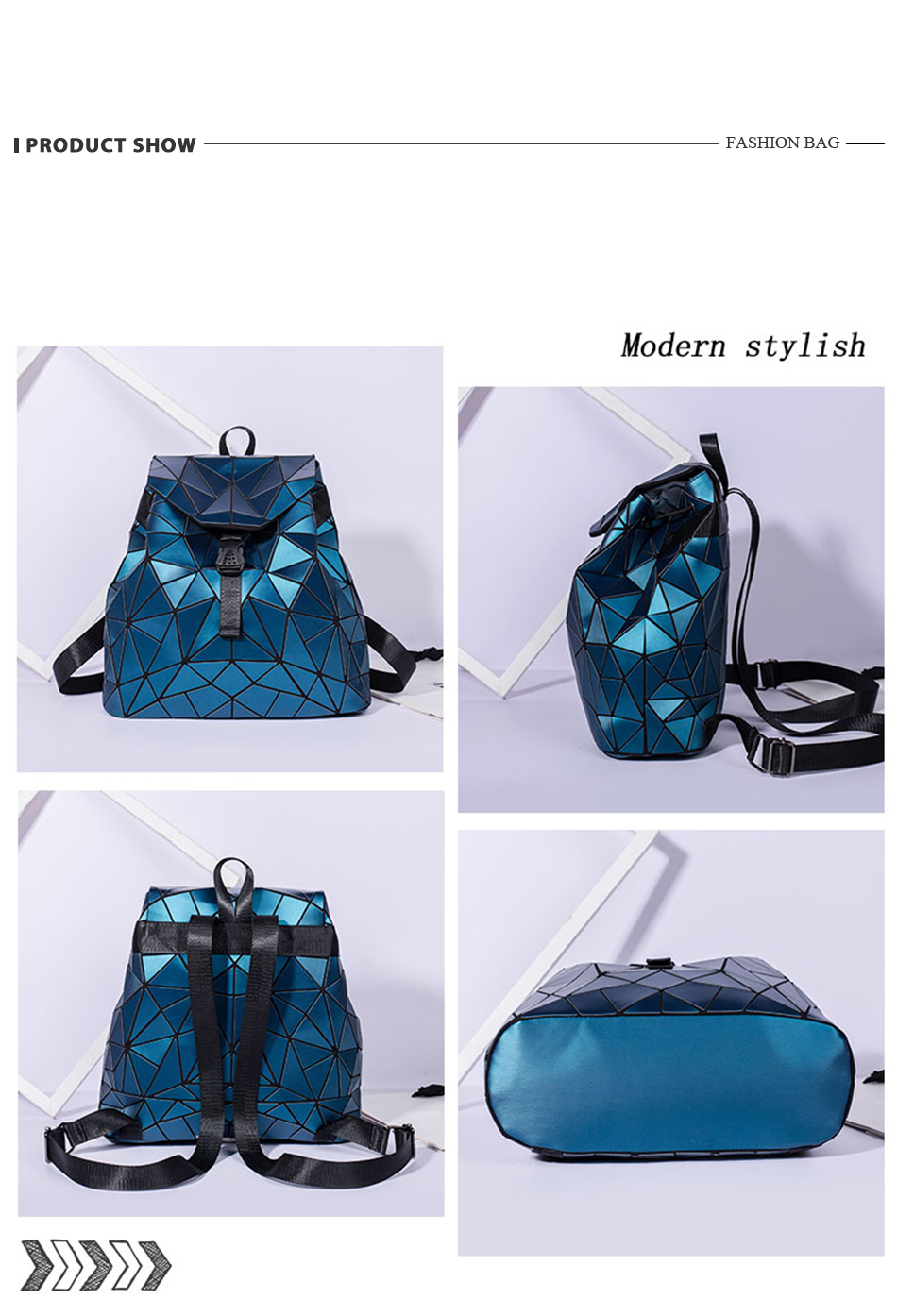 H95c4fb711bcd4f1697be9f1c797a5eb2R - Women backpack school bag large capacity foldable geometric