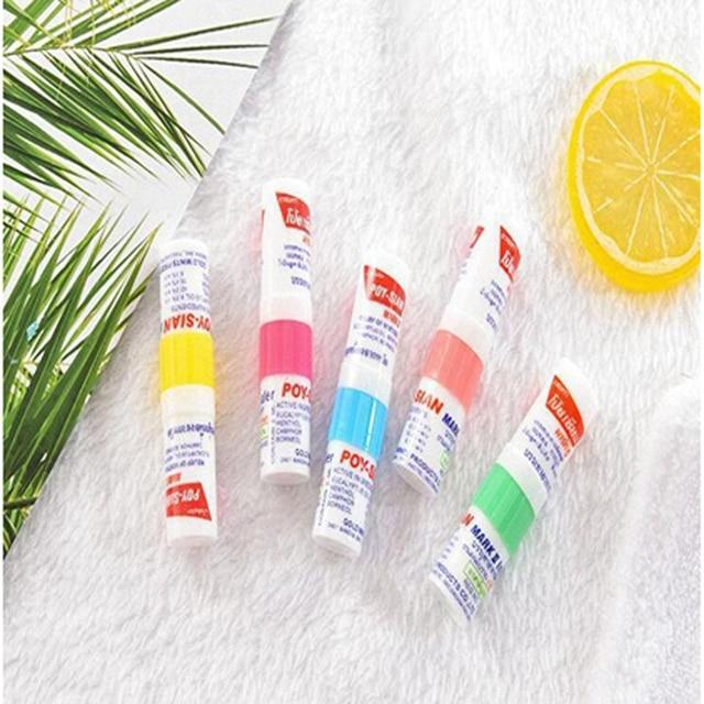 100% New Thailand Nasal Inhaler Poy sian Mark 2 Herbal Nasal Inhaler Poy Sian Stick Mint Cylinder Oil Brancing Breezy Asthma 5