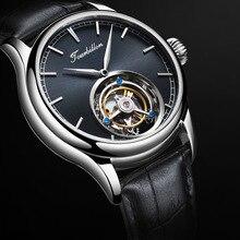 Деловые мужские настоящие Tourbillon часы с сапфировым циферблатом Механические Мужские наручные часы с ручным заводом Reloj de hombre в подарок