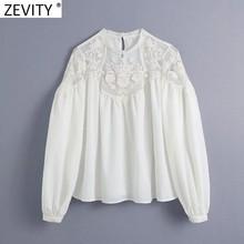 Zevity 2021 las nuevas mujeres de moda de encaje Patchwork de ganchillo hueco blusa mujer O cuello Casual bata camisas Chic Blusas Tops LS7712