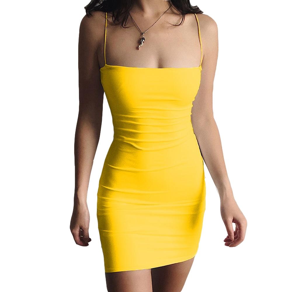 White Sexy Dress Women Spaghetti Strap Dresses Female High Waist Sheath Club Dress Short Summer 2020 Mini Sleeveless Vestidos 6