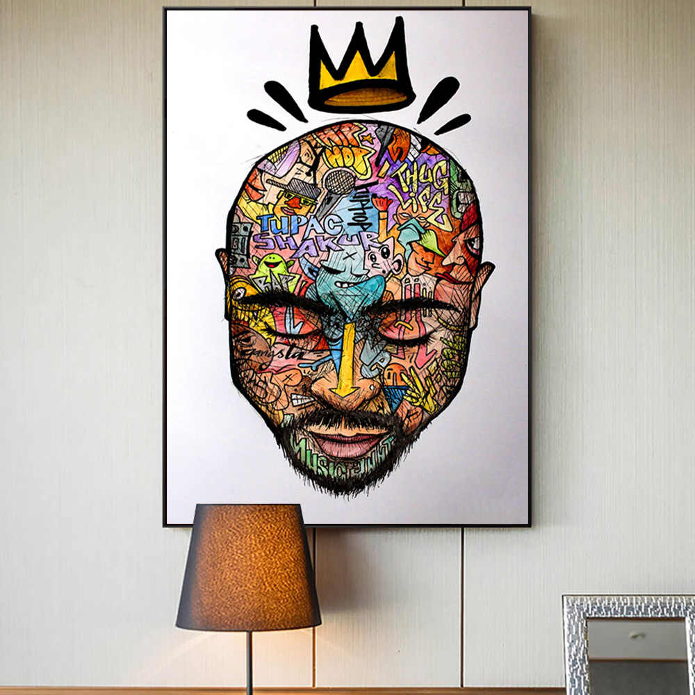 Tupac 2pac Shakur Poster Canvas Print Hip Hop Rap Music Painting Wall Art