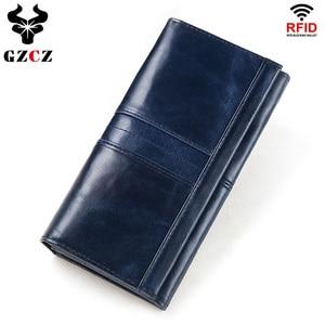 Image 1 - 100% Genuine Leather Women Clutch Wallet Female Coin Purse Portomonee Clamp For Phone Bag Card Holder Handy Passport Holder Blue