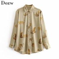 Herbst Leopard Stilvolle Hemd Frauen Drehen Unten Kragen Büro Mode Weibliche Bluse Langarm Plus Größe Dame Tops Blusa Feminina