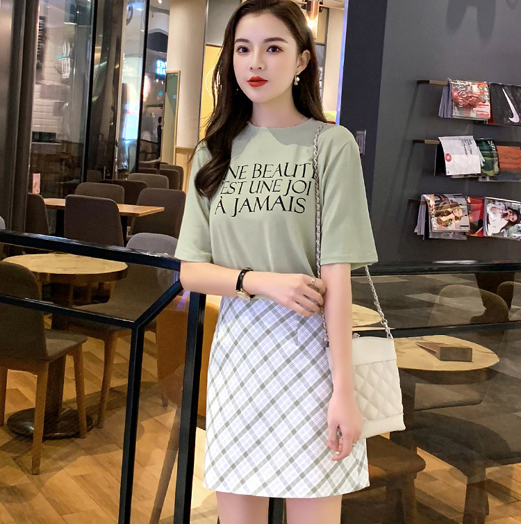 2019 Summer New Style INS Super Fire Hipster Olive Green Lettered T-shirt + Plaid Skirt Set Fashion