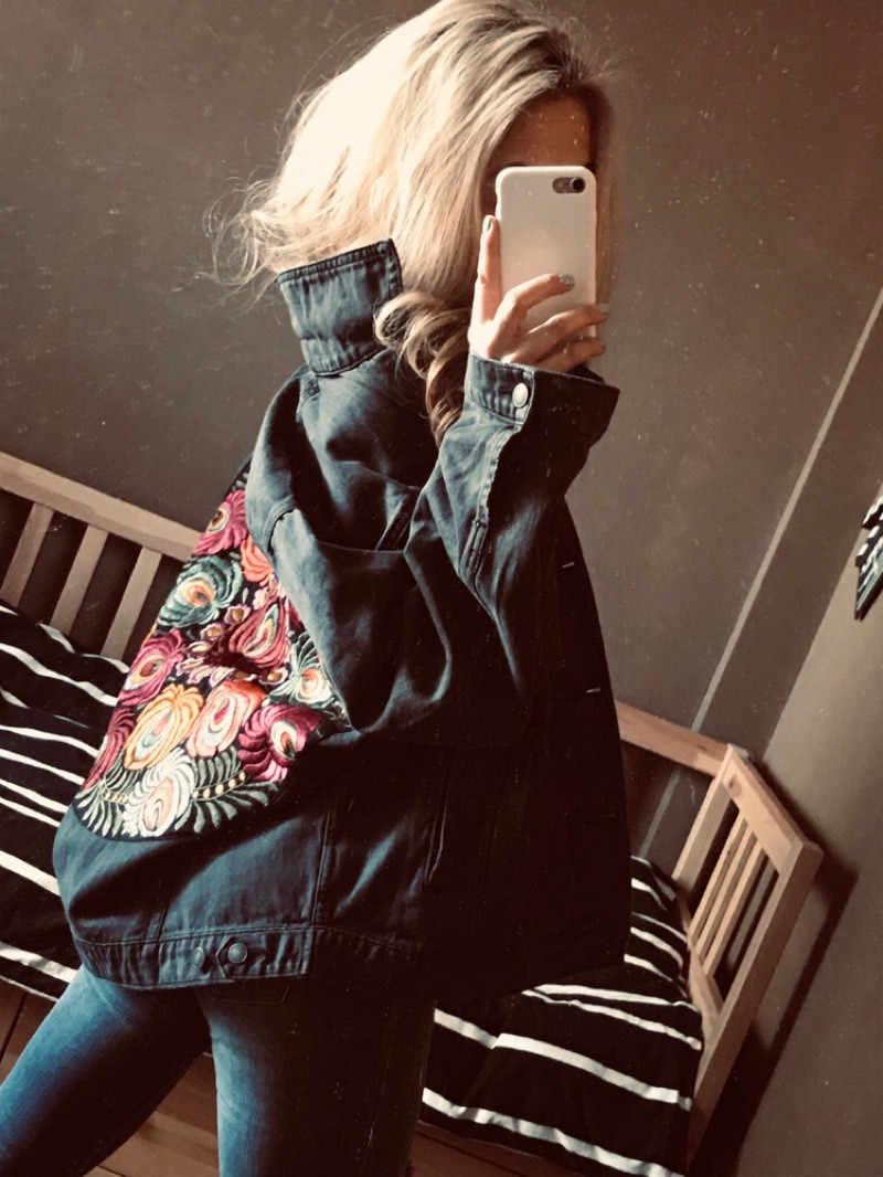 Boho แรงบันดาลใจขนาดใหญ่หลายดอกไม้ปัก Denim แจ็คเก็ตแขนยาวแบบสบายๆเสื้อแจ็คเก็ตผู้หญิง 2019 ฤดูหนาวใหม่เสื้อ
