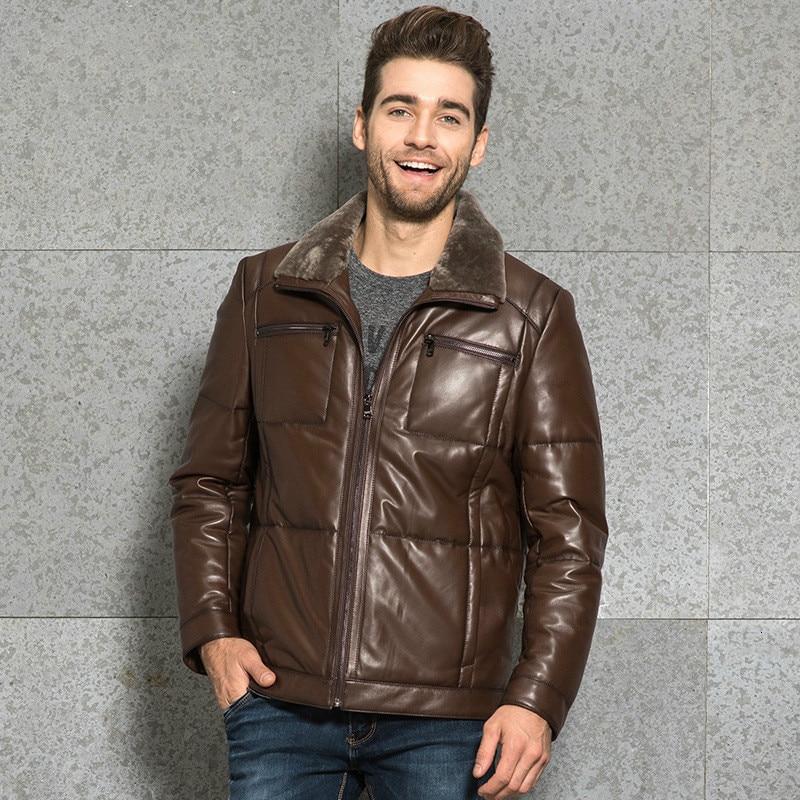 Genuine Leather Jacket Men 2020 Real Sheepskin Coat Mens Slim Warm Duck Down Coat Plus Size Chaqueta Cuero Hombre 3358 YY474