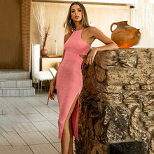 DISEYAR Sexy Backless Long Midi Dresses For Women Bodycon Bandage Split High Waist Summer Sundress Party Outfits 2021