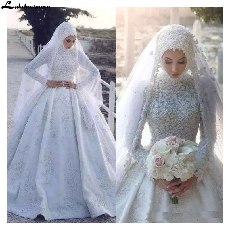 Arabic Muslim Satin Wedding Dresses 2020 High Neck Lace Appliqued Long Sleeves Bridal Gowns Ball Gown Hijab Bridal Wedding Gown Aliexpress