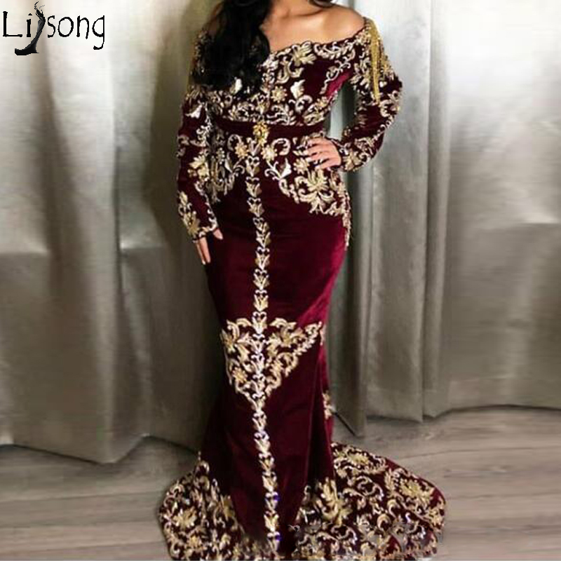 Burgundy Mermaid 2020 Arabic Caftans Evening Dress Lace Beaded Velvet Prom Dresses Off Shoulder Long Sleeves Formal Party Gowns