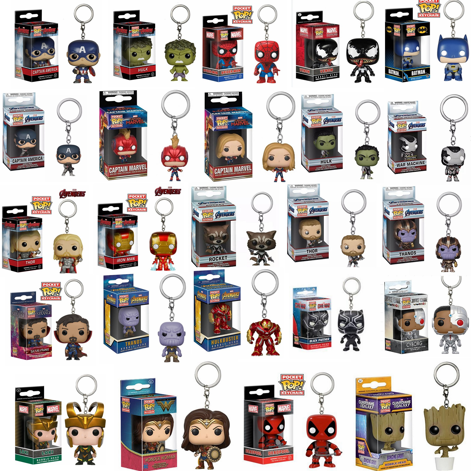 FUNKO POP Avengers 4: Endgame Captain Marvel Venom Deadpool Iron Man Keychain Action Figures Toys For Children Christmas Gift