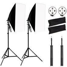 Fotografie Softbox Lightbox Kit 2 Stuks Soft Box Pcs Licht Stand 2 Stuks 4 Socket Lamp Holder Photo Studio Verlichting apparatuur