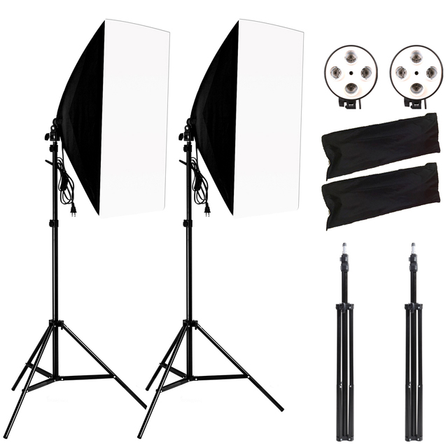Photography Softbox Lightbox Kit 2PCS Soft Box PCS Light Stand 2PCS 4 Socket Lamp Holder Photo Studio Lighting Equipment