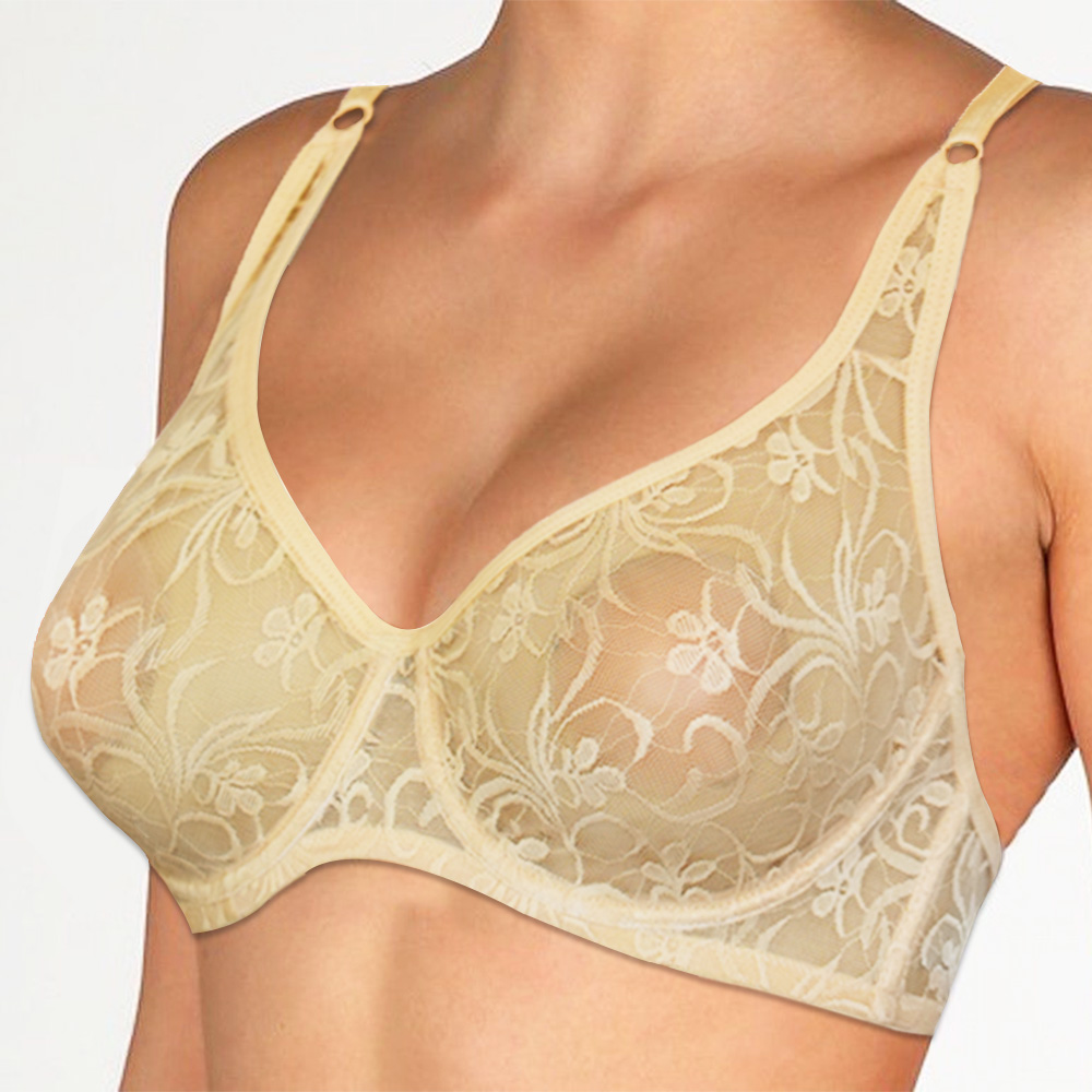 Meliyuu Plus Size Womens Lace Bra Transparent See Through Sexy Lingerie Hollow Out Bralette BH Tops A B C D DD Cup