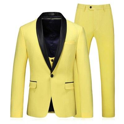 3 Piece Suits Men Yellow Desiger Slim Fit Plus Size 5XL Takım Elbise Boys Wedding Suits Party Dress Tuxedo Mens Suit 2020 New