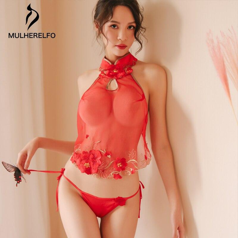 Vintage Red Cheongsam Palace Sleeveless Pajama Sexy Perspective Flower Decoration Sleepwear Fashion Lace-up Briefs Sleepwear