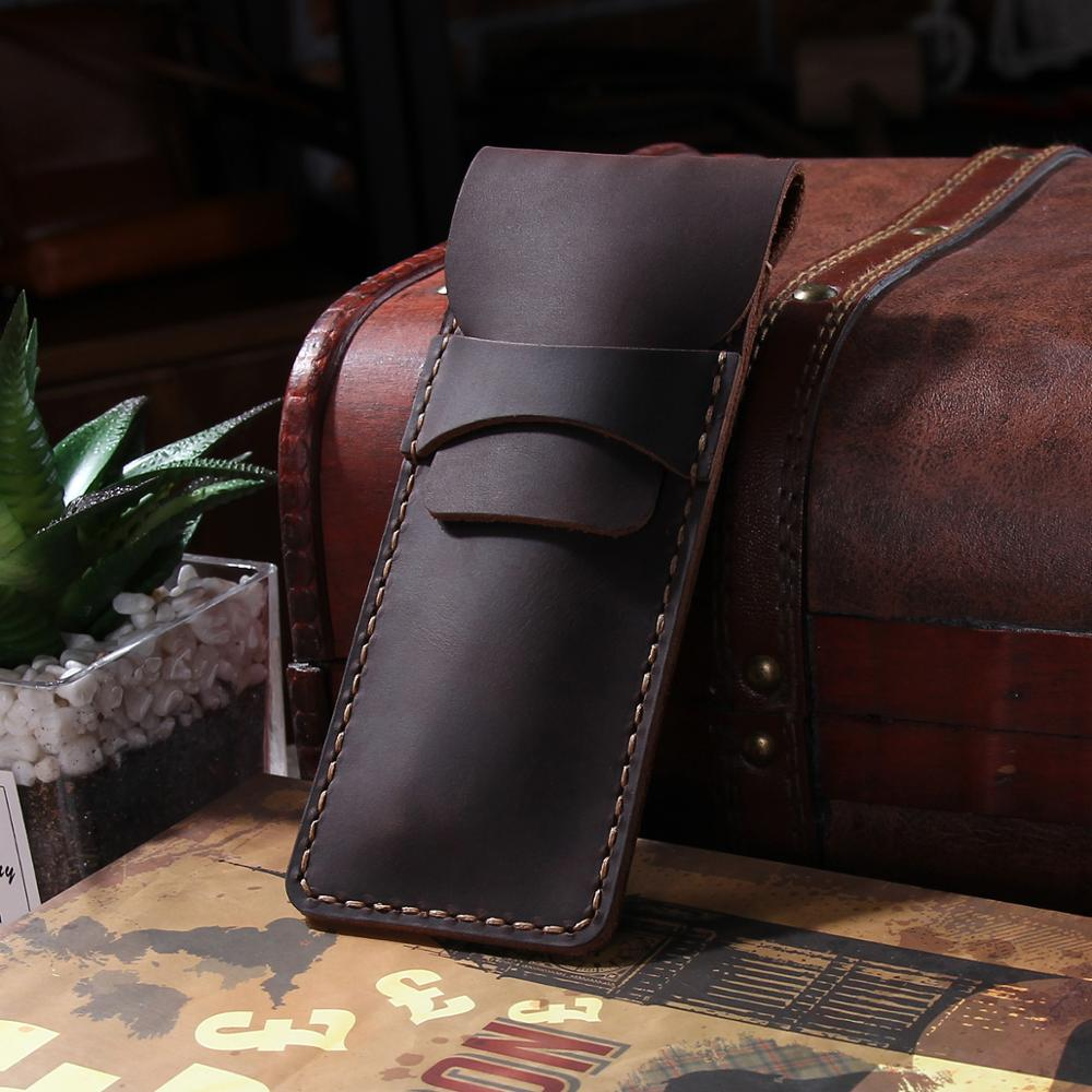 Leather Cowhide Fountain Pen Cases Cover,Handmade Genuine Pencil Bag, Sleeve Pouch, Office School Students Supplies