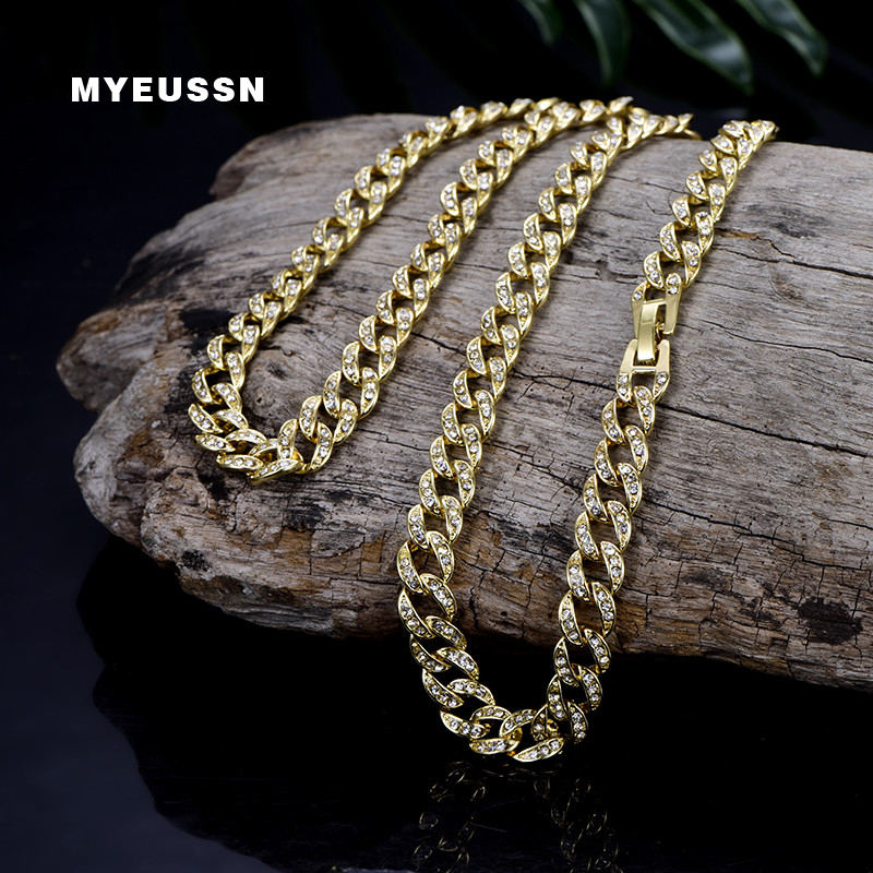 Bling Bling 9MM Cuban Link Chain Necklace Bracelet Men Iced Out Crystal Miami Hip Hop Chain Jewelry Fashion Rhinestone Necklaces