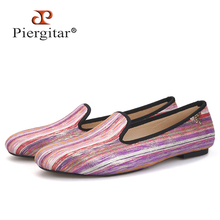 Women Shoes Casual Flats Piergitar Loafers with Metal Charm Fabrics Handmade Mixed-Colors
