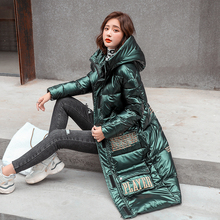 Jacket Parkas Hooded Cold-Coat Shiny Winter Plus-Size Women Hooded-Stand-Collar X-Long