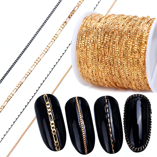 1m Nail Art Alloy Metal Chains Gold 3D Charms Decoration Studs Spangles Punk Snake Bone Strass Manicure Jewelry Accessory JI780
