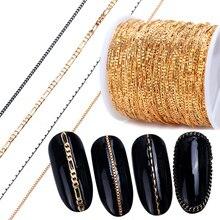 Aleación para arte en las uñas de 1m, Cadenas de Metal, adornos dorados 3D, adornos de tachuelas, lentejuela, Punk, serpiente, hueso, Strass, joyas para manicura, accesorio JI780