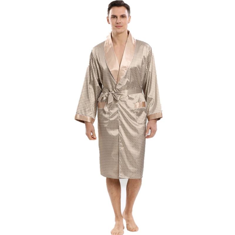 New Arrivals Men Robe Silk Bathrobe Soft Cozy Long Sleeve Nightgown One-Piece Kimono Men Bath Gown Printed Robes Home Sleepwear