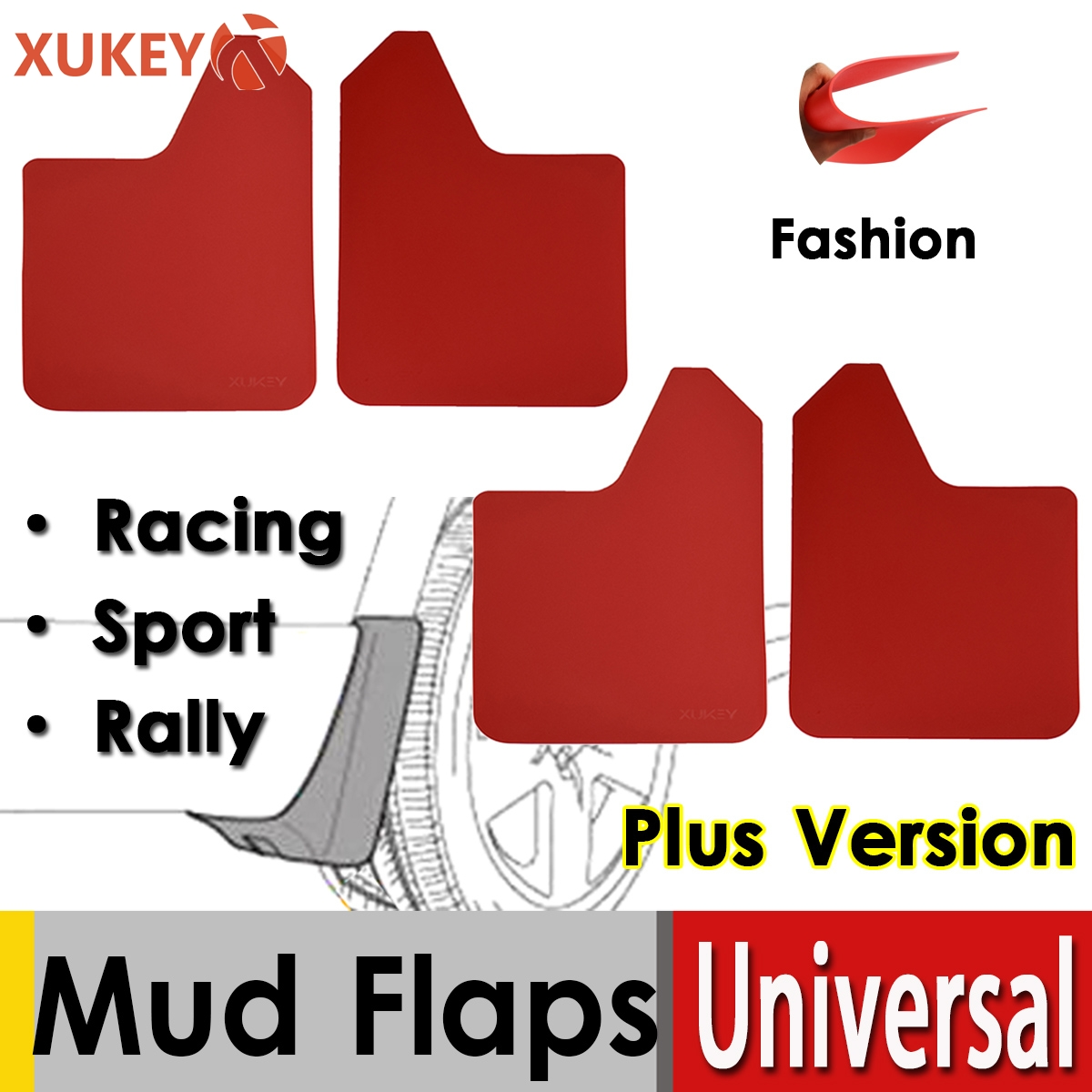 Racing Red Universal Mud Flaps For Car Pickup SUV Truck Mudflaps Splash Guards Mudguards Dirty Fender Flares Front Rear Sport(China)