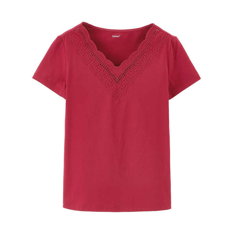 INMAN 2020 Summer New Arrival 문학 모든 경기 v 넥 성격 수 놓은 퓨어 컬러베이스 반소매 티셔츠