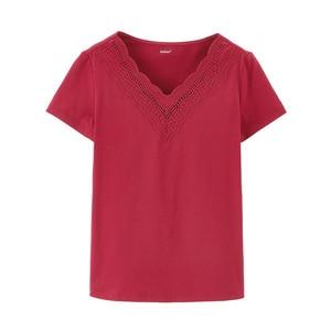 Image 5 - Novedad de Verano de 2020 INMAN, camiseta de manga corta bordada con personalidad y cuello en V combinable literaria de Color puro