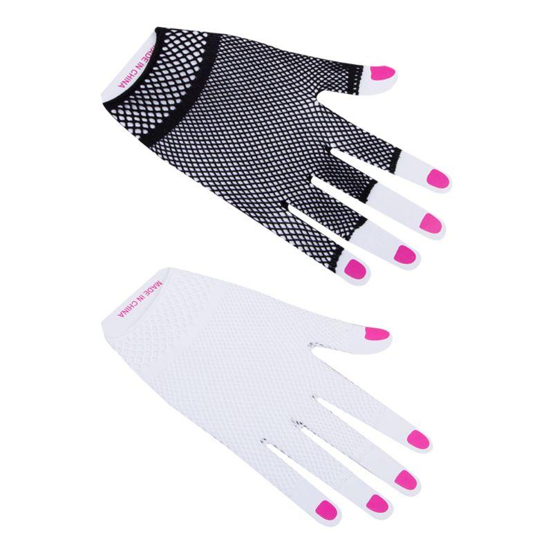 Women Women Men Unisex Hollow Out Fishnet Wrist Length Short Half Finger Gloves Solid Color Clubwear Dance Party Mittens