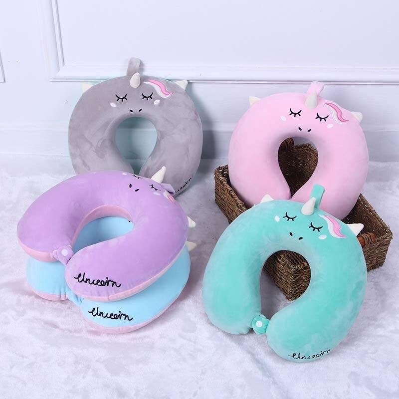 Cute Cartoon U Shaped Travel Pillow Car Air Flight Inflatable Pillows Neck Support Headrest Cushion Soft Memory Foam Pillow