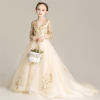 2019 Luxury New Children Girls Sequined Champagne Birthday Evening Party Long Tail Dress Kids Teens Host Model Show Piano Dress