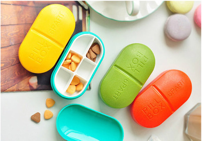 Candy-Colored Circle 6 Grid Medicine Kit Mini Portable One Week Medicine Box Creative Capsule Shaped Medicine Box Cross Border
