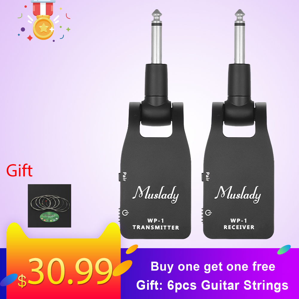 Muslady 2.4G Wireless Zender Guitar System Transmitter & Receiver Built-in Rechargeable Lithium Battery 30M Transmission Range