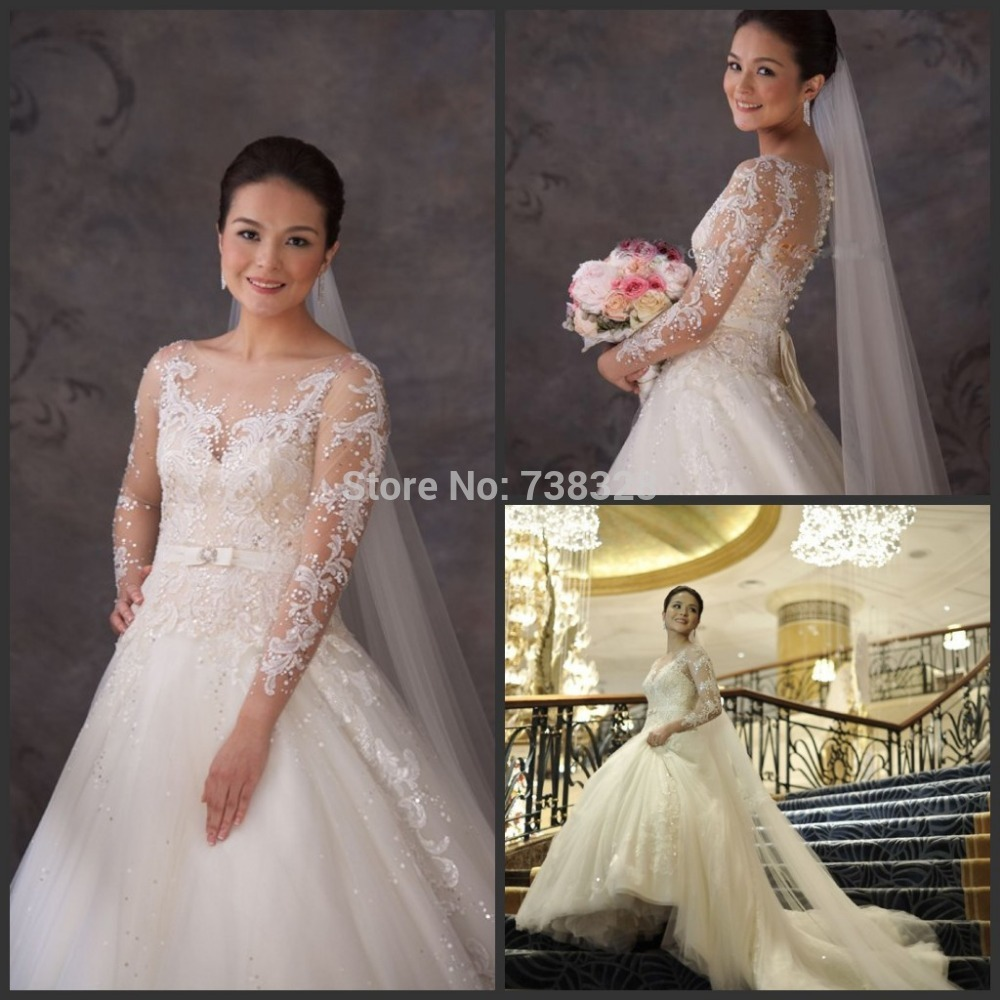 Gorgeous 2018 Vintage Long Sleeves Wedding Dresses Bridal Gowns Tulle Vestidos See Through Back Wedding Dress Vestido De Noiva