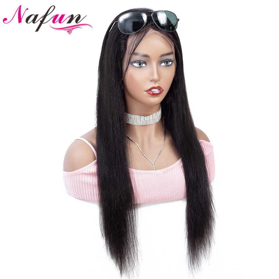NAFUN 13x4 Lace Front Human Hair Wigs Peruvian Straight  Lace Front Wigs For Women Non-Remy 150% Density Lace Wig Free Shipping