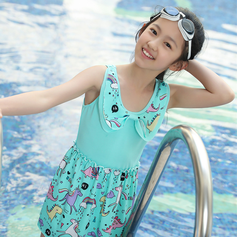 5543 Korean-style One-piece Swimming Suit New Style 6-9-Year-Old GIRL'S Swimsuit Unicorn Printed Tour Bathing Suit-