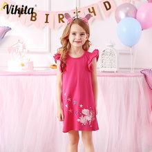 Платье для девочек с расклешенными рукавами и вышивкой из хлопка