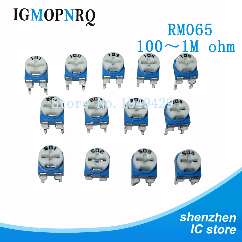 20pcs RM065 RM-065 100 200 500 1K 2K 5K 10K 20K 50K 100K 200K 500K 1M <font><b>ohm</b></font> Trimpot Trimmer Potentiometer variable <font><b>resistor</b></font> image