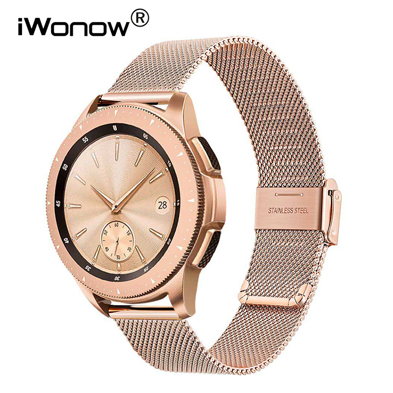 Milanese Watchband 20mm 22mm For Samsung Galaxy Watch 42mm 46mm Active 2 40mm 44mm Quick Release Band Mesh Stainless Steel Strap