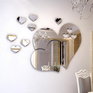 Decal Mirror Decor Mural Removable Wall-Sticker Living-Room Hearts Love 3D DIY