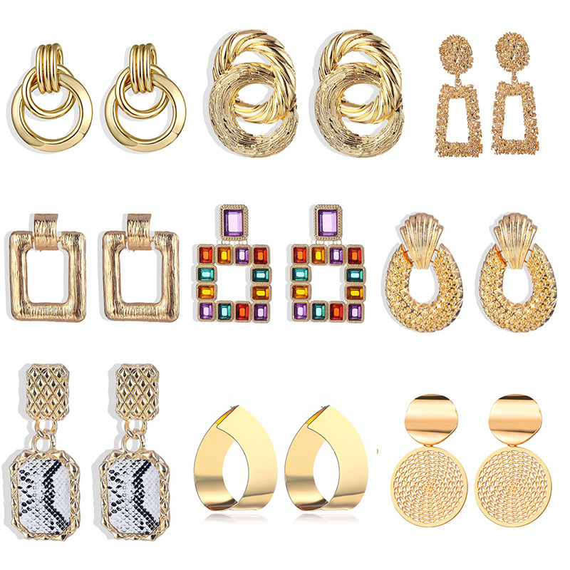 Fashion Gold Silver Alloy Earrings For Women Vintage Punk Statement Big Geometric Crystal Dangle Earrings Party Wedding Jewelry