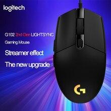 Logitech G102 LIGHTSYNC 2nd Gen משחקי Wired עכבר אופטי משחק עכבר תמיכת שולחן העבודה/מחשב נייד windows 10/8/7 2Gen עכבר אופטי